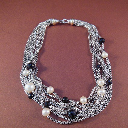 """excellent (EX) David Yurman Sterling & 18K Gold 16"""" Black Onyx and Pearl 8-Row Confetti Necklace"""