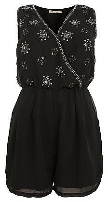 Innocence Black Silver Embellished Playsuit