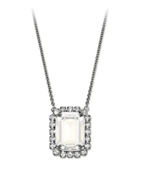 Combing a love of simplicity and serious bling, this oversize pendant ($125) seemingly does the impossible.