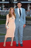 In London, Joséphine de La Baume joined Mark Ronson in pastel solids on the Rush red carpet.