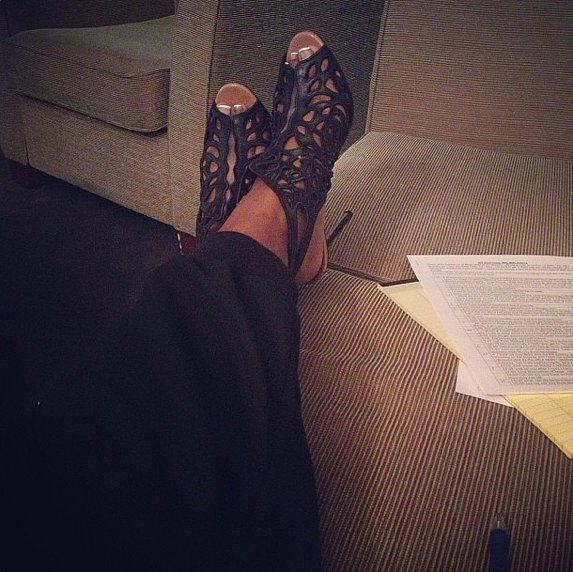 The hardworking Mindy Kaling kicked up her (Valentino) heels.  Source: Instagram user mindykaling