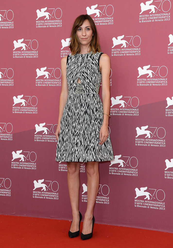 For the Palo Alto photocall, Gia Coppola paired a printed Proenza Schouler dress with classic black pumps.