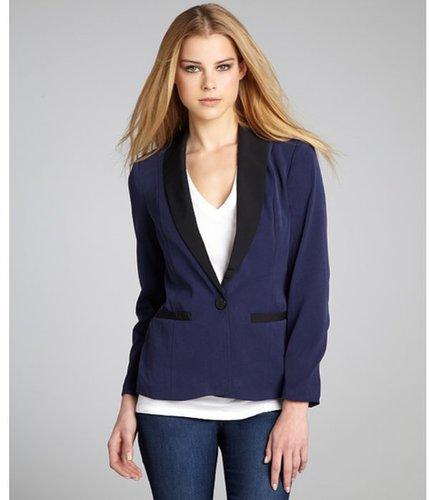 Wyatt white and black colorblock single-button tuxedo jacket