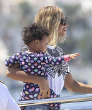 Beyoncé held on to Blue Carter as they boarded a yacht in Spain in September 2013.
