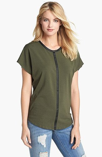 Two by Vince Camuto Faux Leather Trim Slouchy Tee