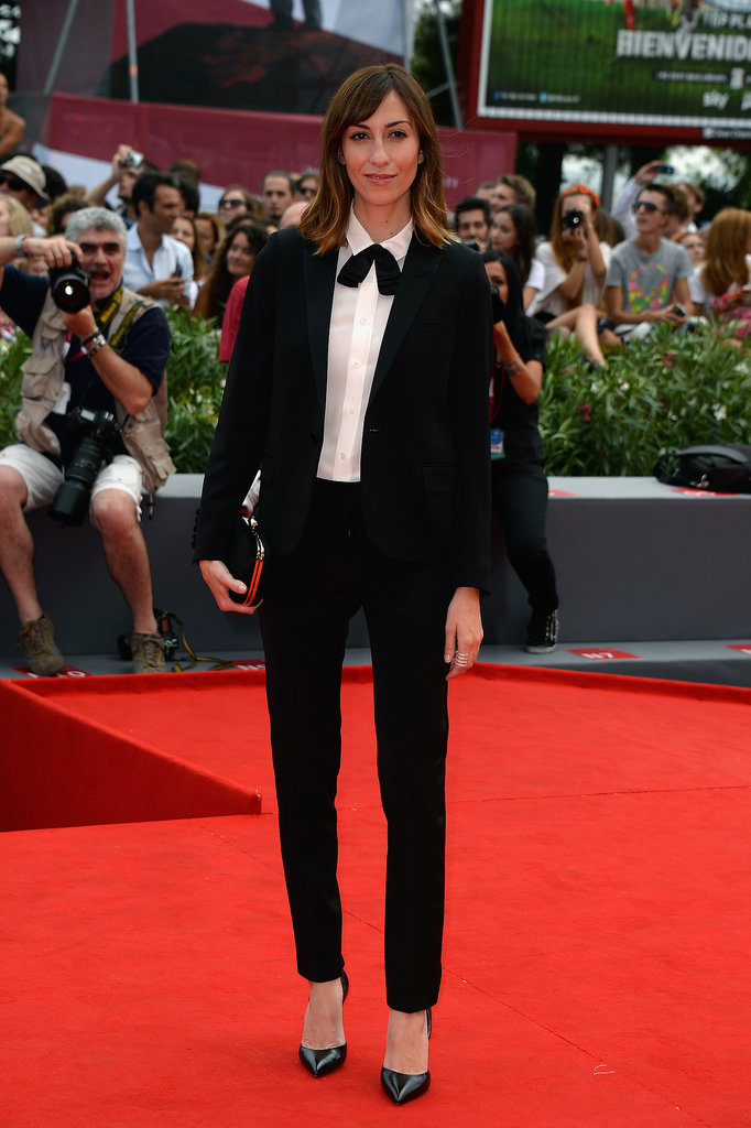 Gia Coppola took the sleek menswear route in a black suit and white blouse at the Palo Alto premiere.