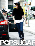 Kristen Stewart wore jeans and a sweater in Berlin.