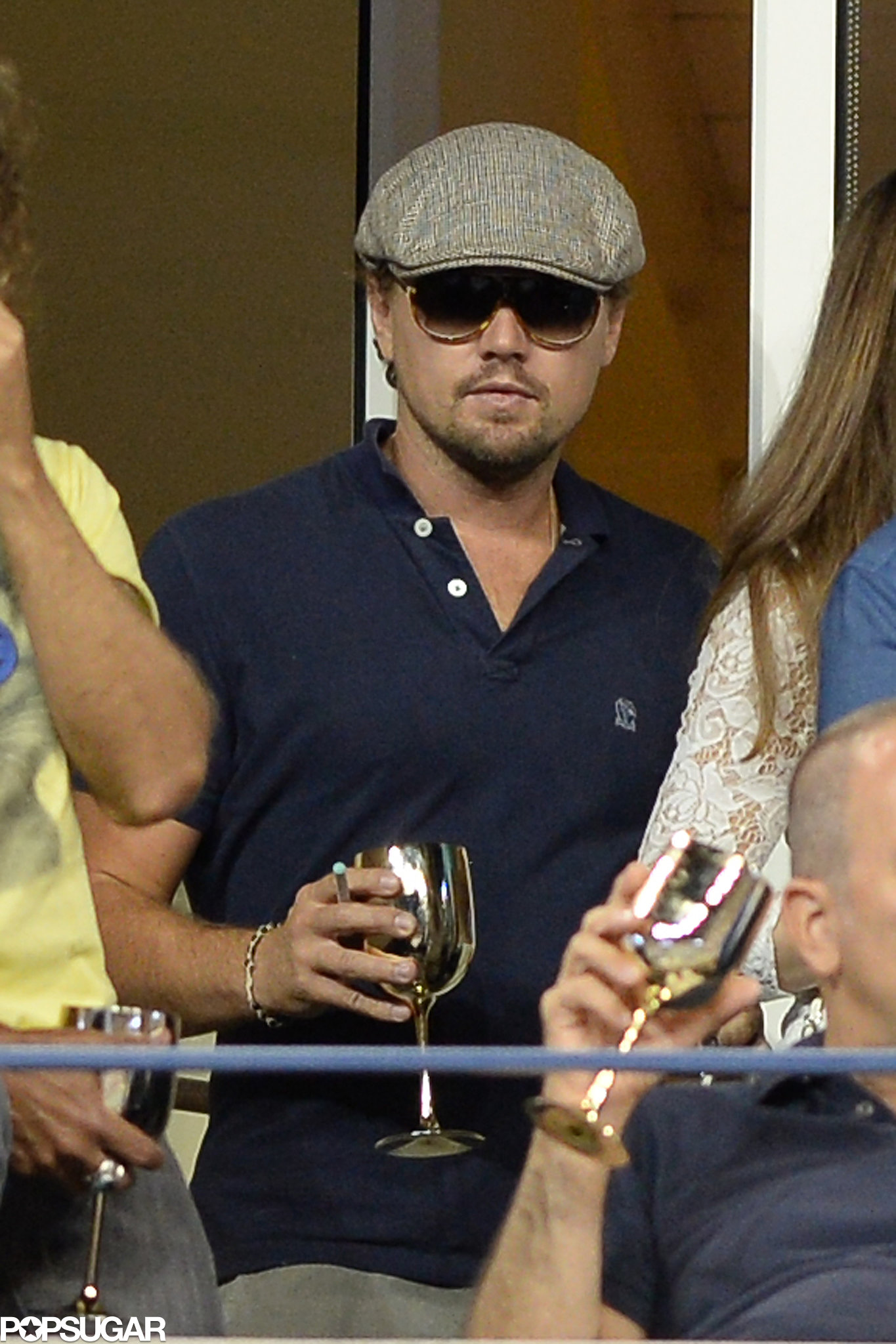 Leonardo DiCaprio kept a low profile in the Moet & Chandon suite.