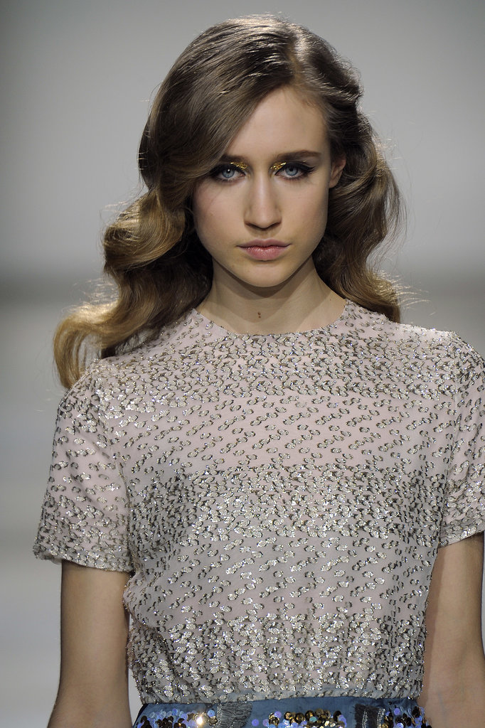 A surprisingly sophisticated Veronica Lake-style waved look graced the long locks of the models for Michael van der Ham's London show for Autumn/Winter 2012.