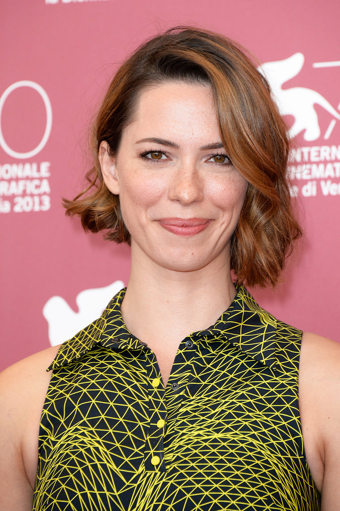 Actress Rebecca Hall was at the photocall of Une Promesse wearing her bob and loose waves and a natural makeup look.