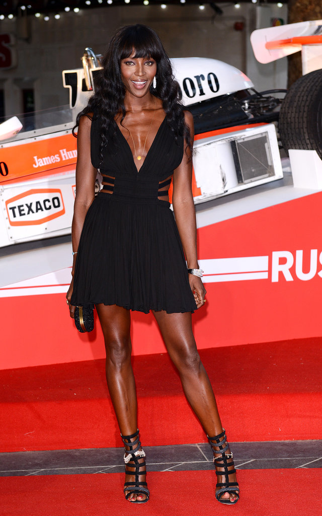 Naomi Campbell's minidress redefined the little black dress at the Rush premiere in London.