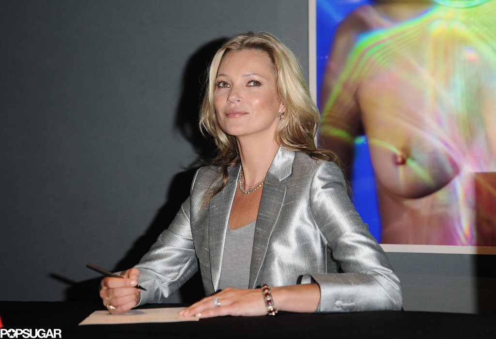 Kate Moss signed copies of her art prints at Christie's auction house in London.