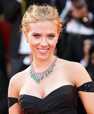 On the red carpet for the Under the Skin premiere, Scarlett Johansson went for a more glamourous look with a tousled up 'do and a sexy winged eyeliner look.