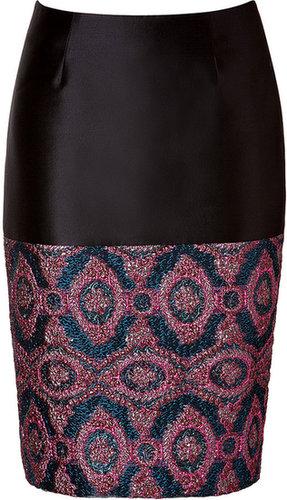 Prabal Gurung Pencil Skirt with Brocade Paneling Pink/Blue