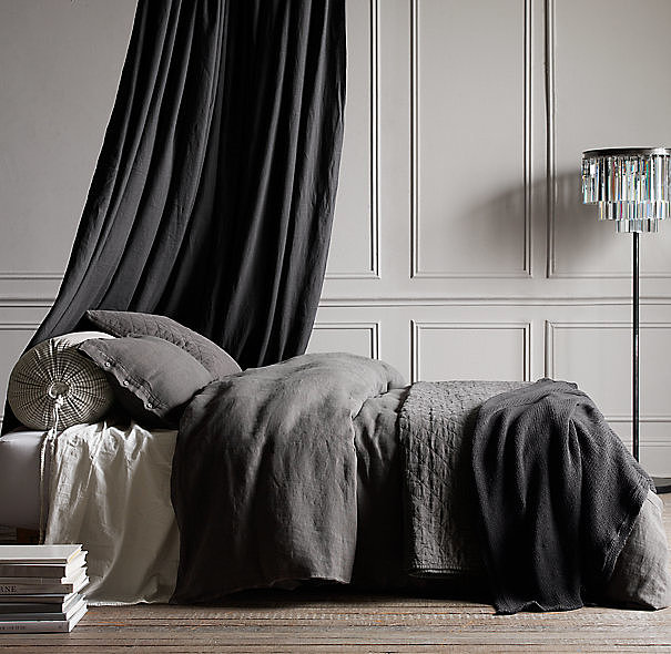 This heavyweight but very soft garment-dyed textured linen bedding ($42-$329, originally $69-$329) is made in small batches.