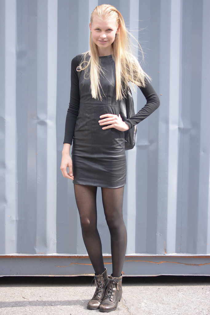 She nailed the model-off-duty vibe in a little leather dress.