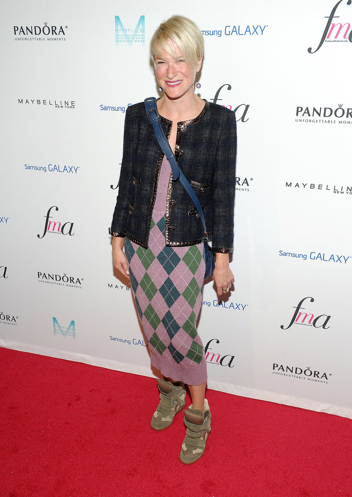 Julie Macklowe was preppy and chic while arriving for the Media Awards hosted by The Daily Front Row.