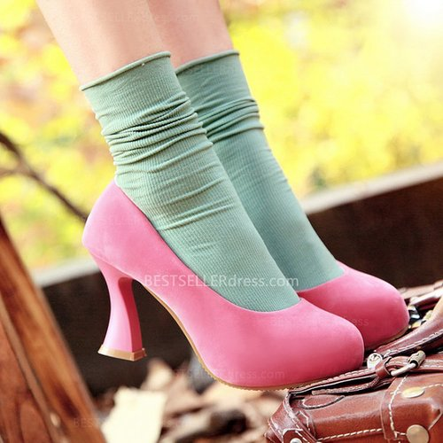 Pink Suede Sweet Lady Round Toe High-Heeled Shoes With Platform