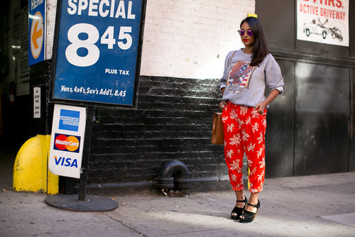 There's nothing we don't like about her patterned trousers and vintage sweatshirt.