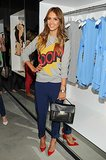 Actress Jessica Alba attended the party wearing one of the collection's graphic, comic-book-inspired sweaters.