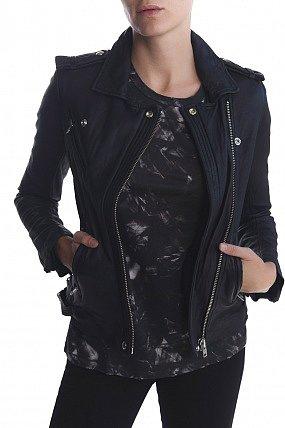 Iro Han Leather Jacket Navy