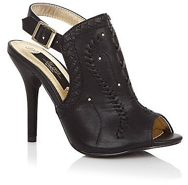Limited Black High Vamp Stitch Sling Back Heels