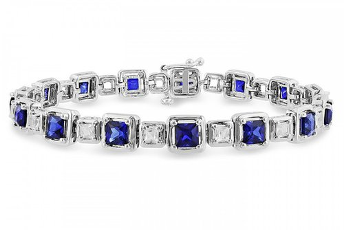 7 1/2 Carat Created White and Blue Sapphire Sterling Silver Bracelet