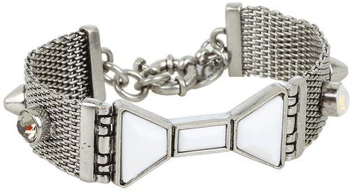 Marc by Marc Jacobs - Polka Dot Bow ID Bracelet (Silver/Bright White) - Jewelry