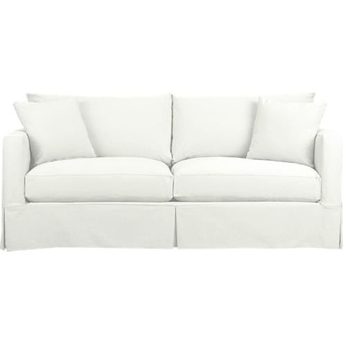 Don't judge us for thinking of marshmallows as soon as we saw this white sofa ($1,799) — it's just that comfy!