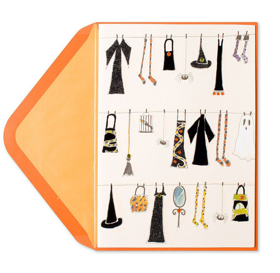 If this witch's wardrobe design ($6) isn't the most stylish Halloween card we've seen, we don't know what is.