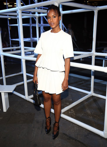 Kerry Washington was a vision in white in the front row of the Alexander Wang Spring 2014 show.
