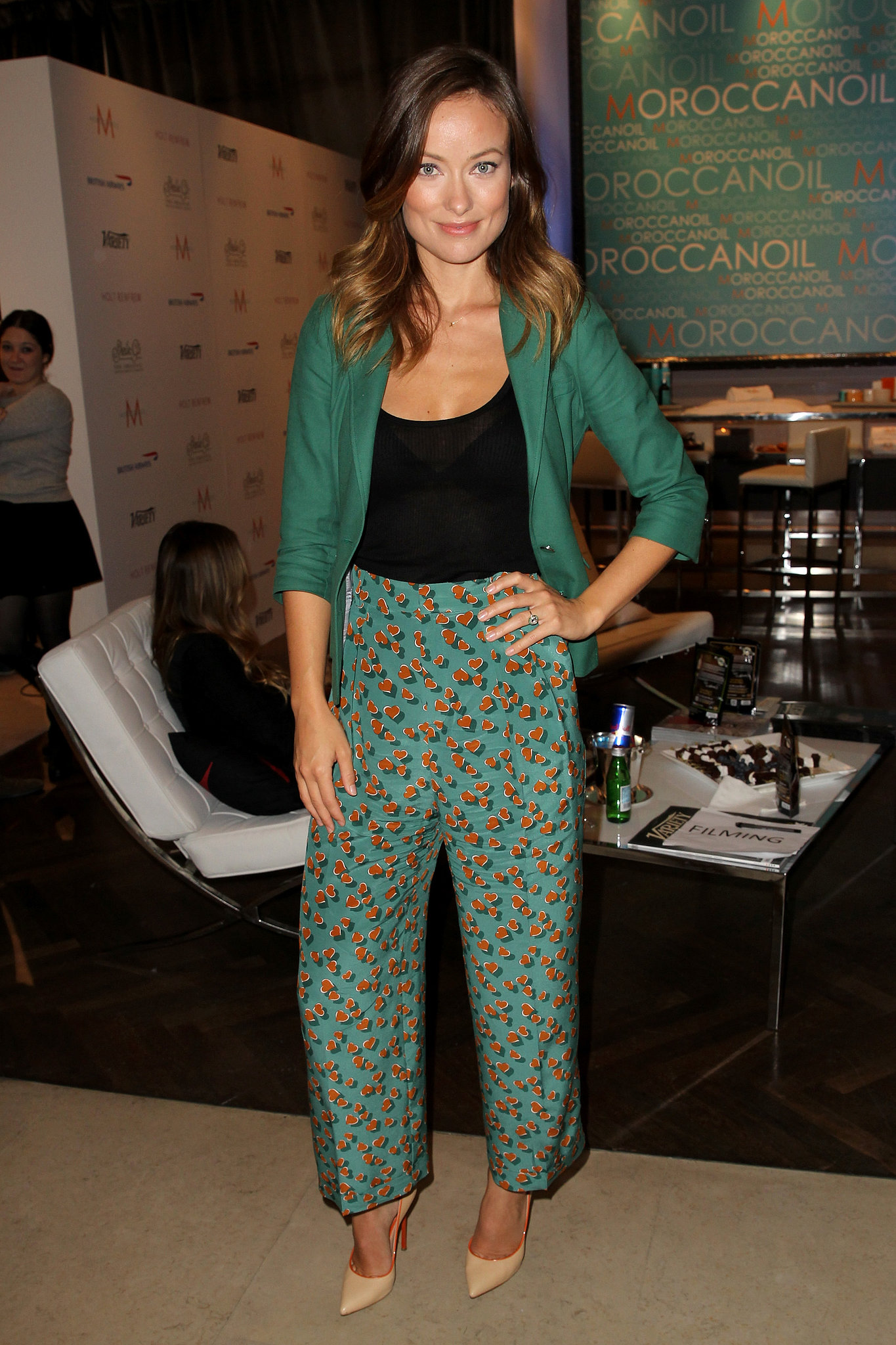 Olivia Wilde sported printed pants while visiting the Variety Studio.