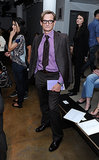 Hamish Bowles layered a lavender button-down under his crisp suiting at Louise Goldin.