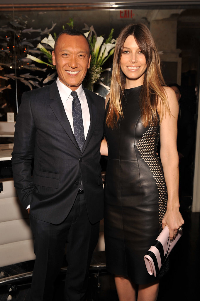 Jessica Biel wore a black leather dress for the Fashion Media Awards in NYC.