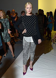 Brittany Snow showed her support for Lela Rose in a polka-dot sweater, graphic pants, fuchsia metallic pumps, and a black Oroton clutch.