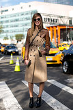 Chiara Ferragni played it polished and cool in a buttoned-up trench.