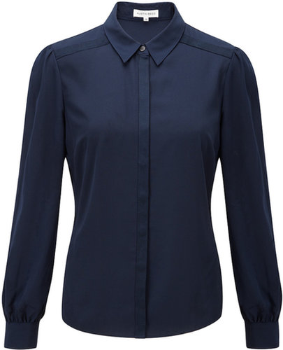 French Navy Grosgrain Blouse