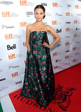 Alicia Vikander showed off her décolletage in a strapless floral Erdem gown at The Fifth Estate premiere.