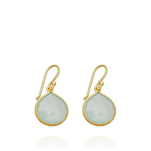 Aqua Chalcedony Small Drop Earrings By Como Gems