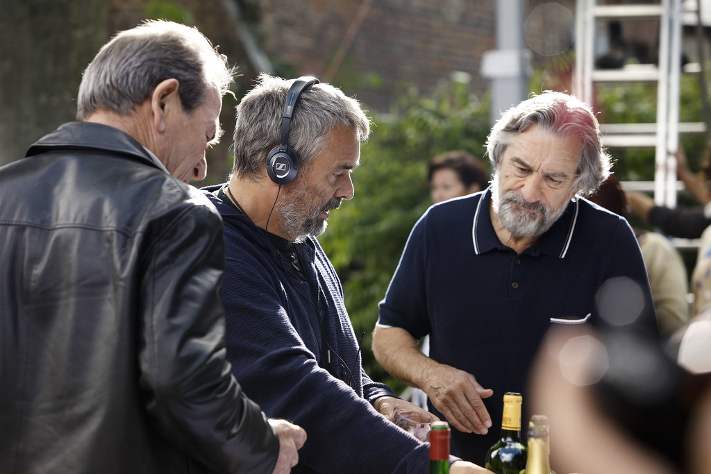 Director Luc Besson with Robert De Niro on the set of The Family. Source: EuropaCorp