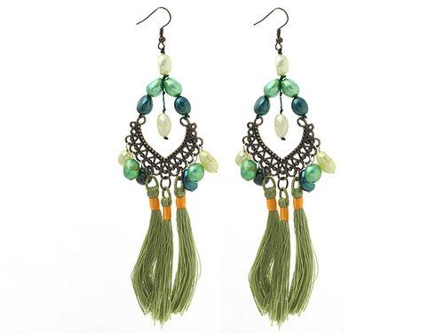 New Design Green Style Assorted Green Baroque Pearl Tassel Dangle Earrings