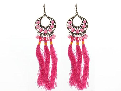 New Design Pink Series 8-9mm Baroque Pearl Tassel Dangle Earrings