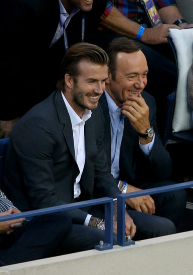 David Beckham and Kevin Spacey joked around during a match.