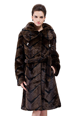Dolores/faux coffee mink fur with black stripes/long fur coat - New Products