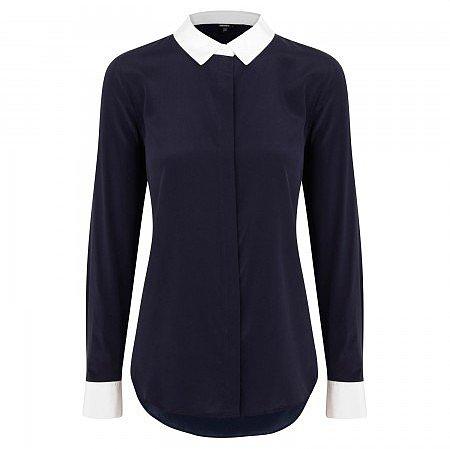 DKNY Contrast trim stretch silk blouse