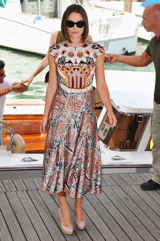 Mary Katrantzou megafan Keira Knightley took an early turn in one of the designer's creations, at the Venice Film Festival in 2011.