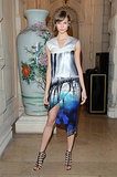 Karlie Kloss wore a Mary Katrantzou dress for a party to celebrate the second issue of Carine Roitfeld's CR Fashion Book.