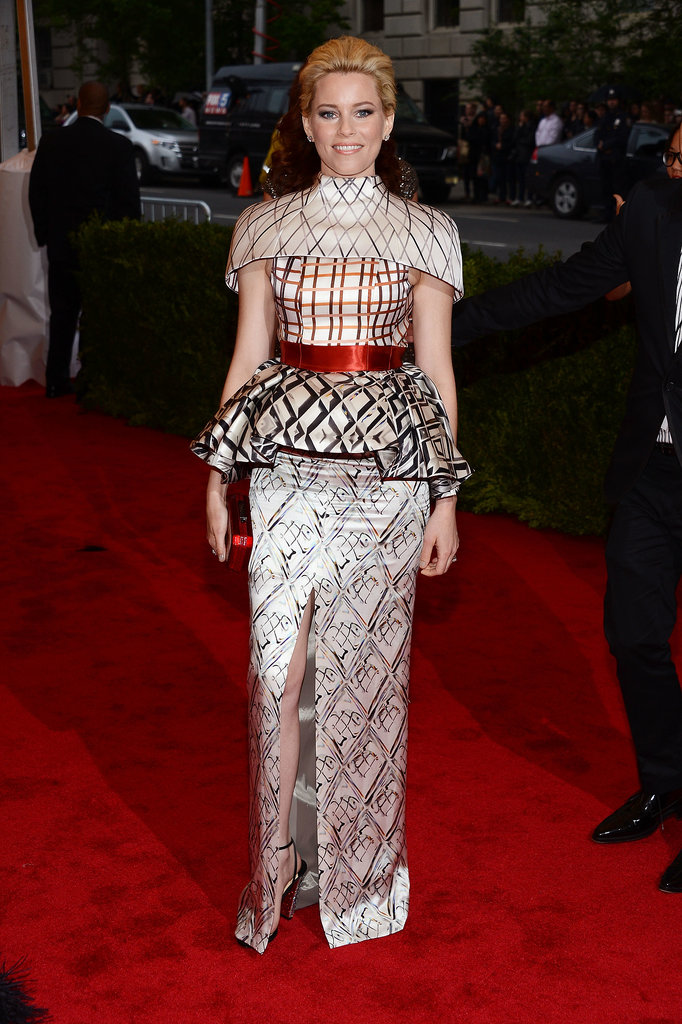 Elizabeth Banks opted for a tricky Mary Katrantzou dress that wouldn't look out of place on her Hunger Games character Effie Trinkett for the 2012 MET Gala.