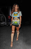 Rihanna headed out for a night on the town in New York wearing a Mary Katrantzou butterfly t-shirt.