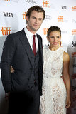 Elsa Pataky and Chris Hemsworth posed for photos.